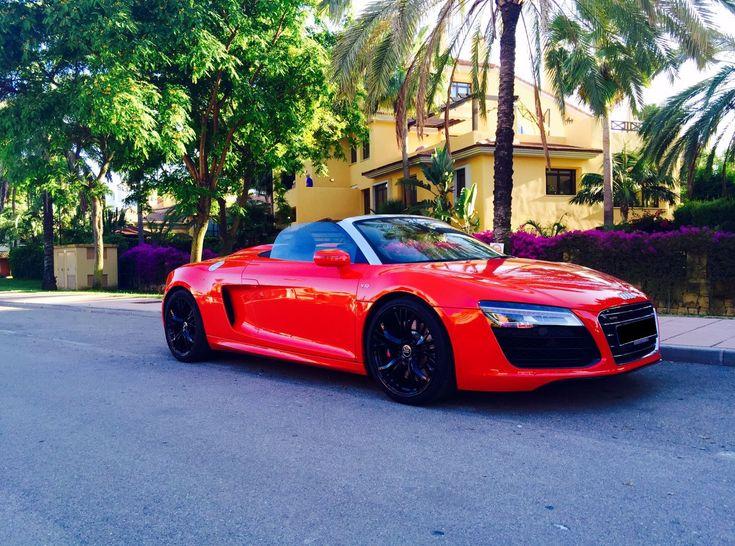 Audi R8 V10 Spyder | Red | Spain | #rent #audi #r8 #v10 #spyder #convertibel #cabrio #cabriolet #sports #sportscar #luxury #super #car #auto