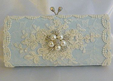 Something Blue wedding clutch bag .. vintage lace with Swarovski crystals and  pearls on Etsy, $113.05 AUD
