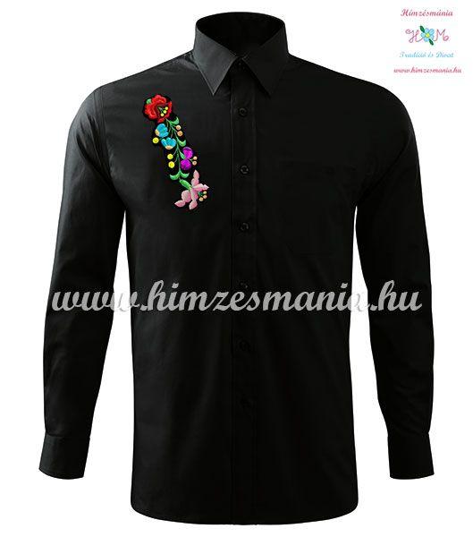 Kalocsai mintás fekete férfi ing  ▶️ http://himzesmania.hu/Kalocsai-ferfi-ing-hosszu-ujju-gepi-himzes-fekete