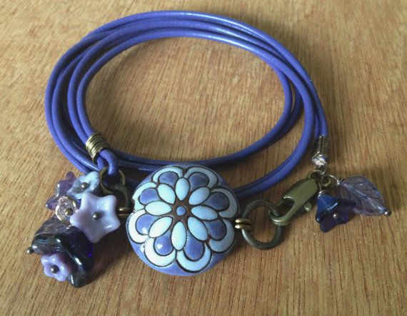 Just Purple Floral genuine leather wrap by FloatingVintage on Etsy, £18.00