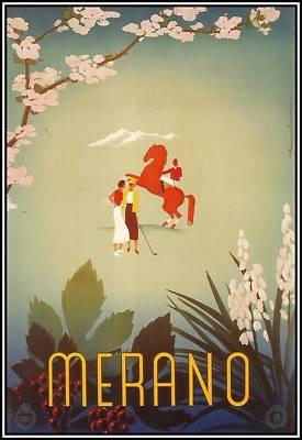 Merano, Italy 1937  Vintage Italian Travel Poster
