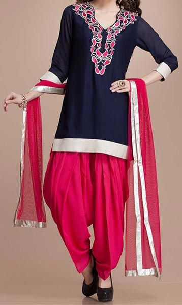 Beautiful Red Patiala Salwar Black Kurti with Embroidery Collar Neck Gala Design