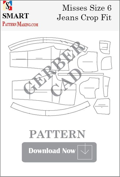 Gerber CAD Misses Jeans Crop Fit Sewing Pattern