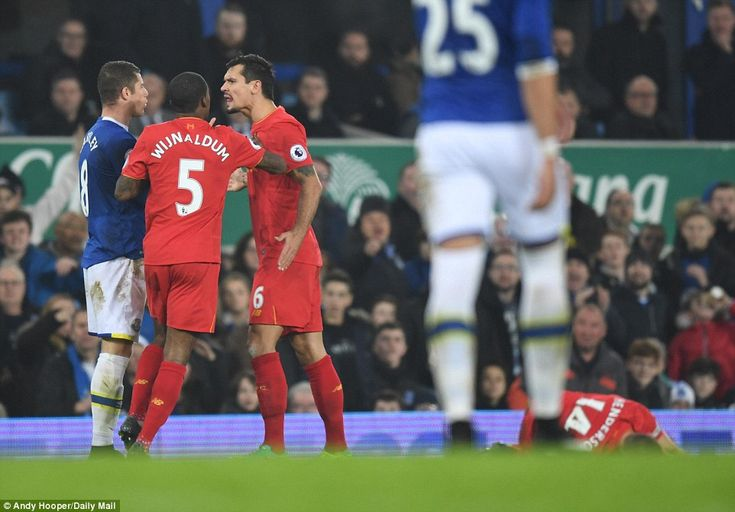 With the Reds' skipper prone on the ground Dejan Lovren reacted with anger to the Everton player's late tackle