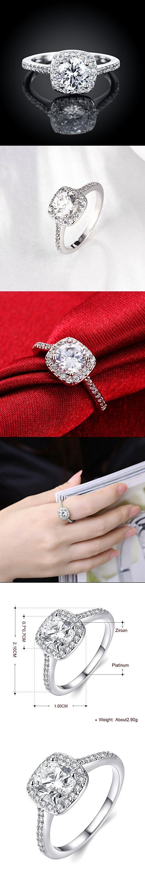 Naivo Gold Plated Crystal Stone Halo Setting Pave Band Engagement Ring Women's (1.90 carats) (White Gold, 5)