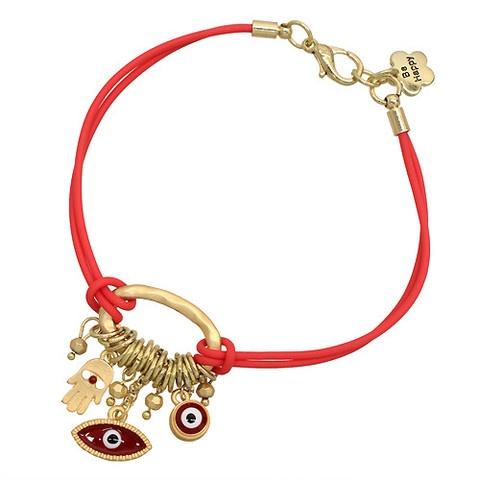 Red Hamsa Hand & Evil Eye Cluster Charm Bracelet