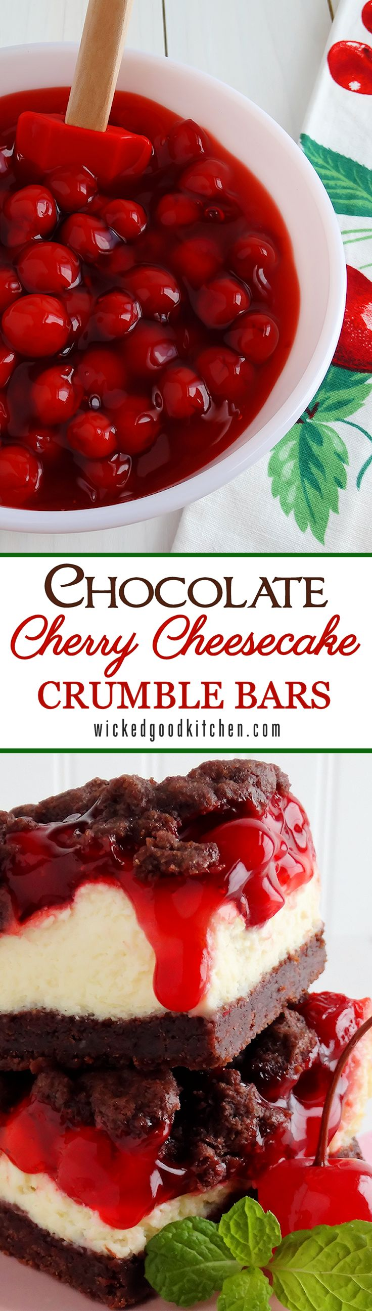 Chocolate Cherry Cheesecake Crumble Bars by WickedGoodKitchen.com ~ A buttery rich chocolate crumble pastry that tastes like the most scrumptious chocolate shortbread cookies, a cheesecake filling that rivals any New York Style Cheesecake and tart cherry pie filling makes one of the most irresistible crumble bars ever! Recipe includes gluten free option. | dessert recipe