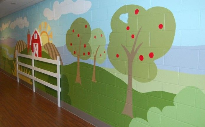 35 best images about church nursery makeover on pinterest for Church nursery mural