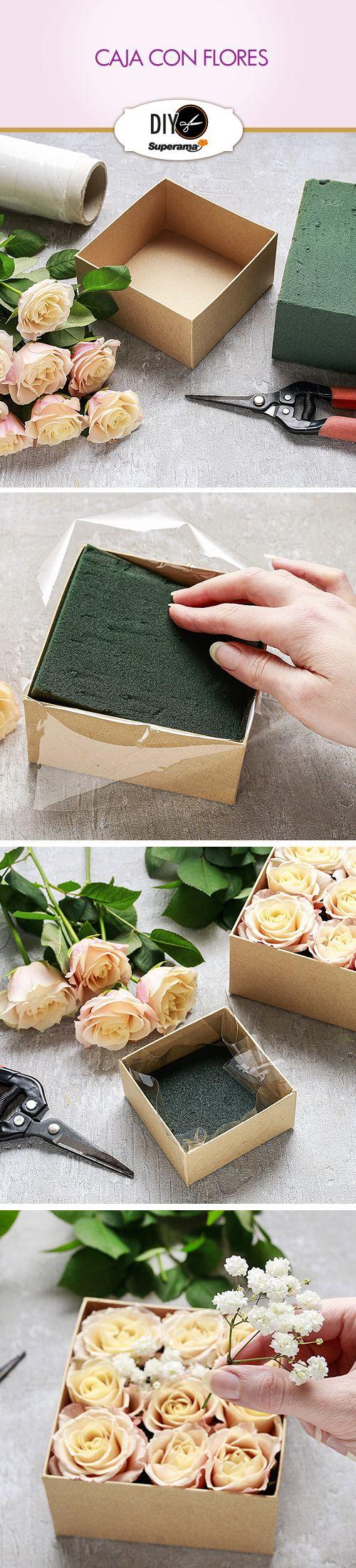 #DIY Un regalo especial para mamá, hecho con tus propias manos. Necesitas: -Una caja -Espuma rígida -Pinzas -Plástico -9 rosas blancas, rojas… Forra por dentro la caja con plástico, pon la espuma, corta el tallo de las rosas, dejando la suficiente altura para clavarlas. Decora con follaje.