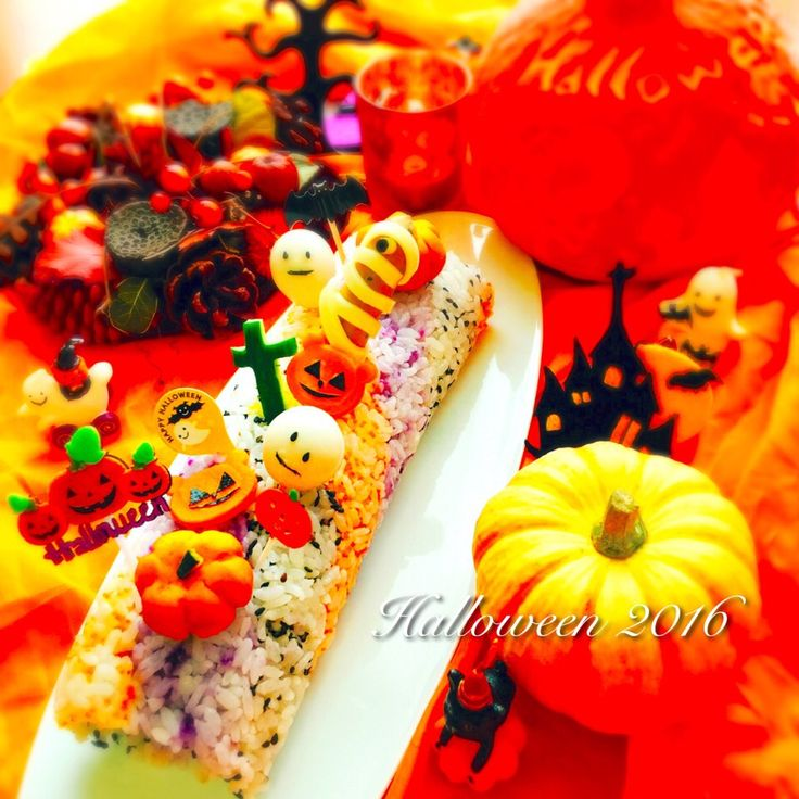 Anna's dish photo ハロウィンパーティー レインボーロール寿司 | http://snapdish.co #SnapDish #レシピ #ハロウィン #キャラ弁 #お誕生日 #晩ご飯 #お寿司