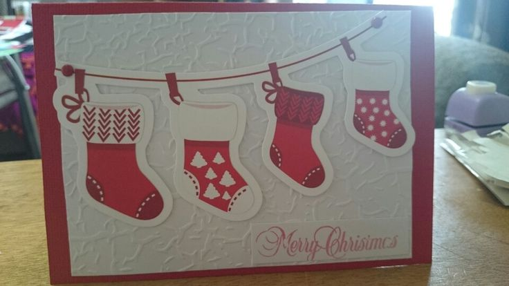 Xmas Stockings - Scrapbook Christmas card