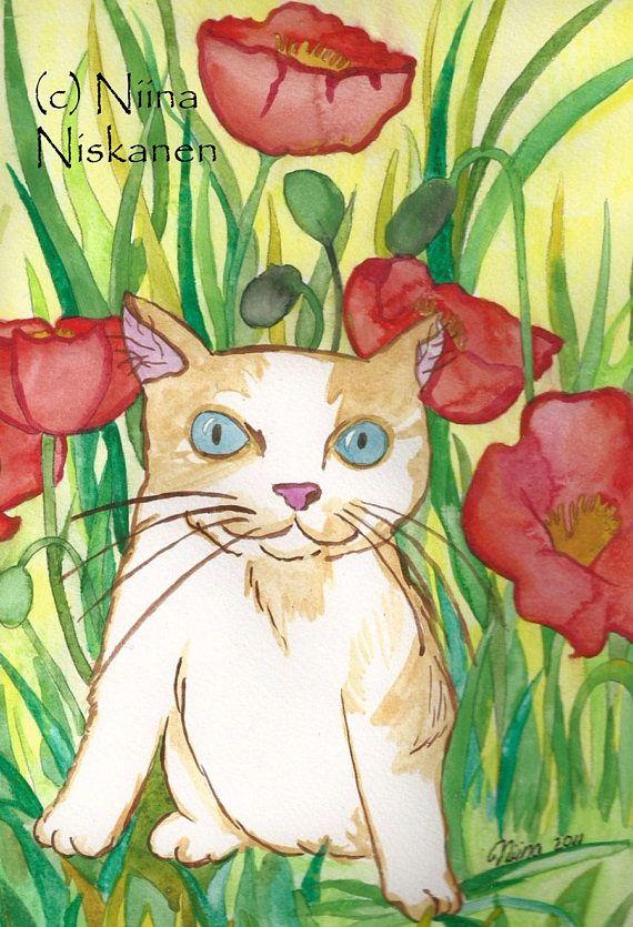 Little Cat Print Between The Poppies Art Print Watercolor Cat