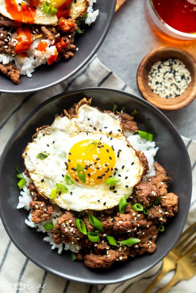 Korean Ground Beef Bowls Recipe Beef Recipes Easy Korean Ground Beef Healthy Ground Beef
