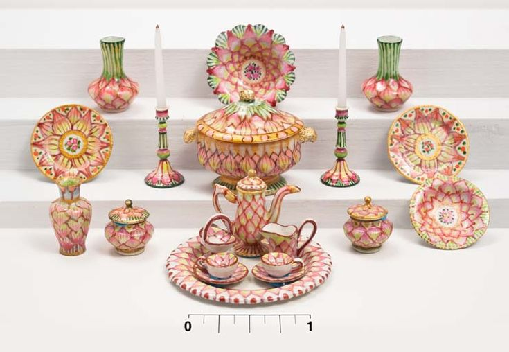 Amanda E. Skinner – Miniatures Pink Lotus pattern handpainted dollhouse miniature table setting. China inspired by original English and Asian patterns.