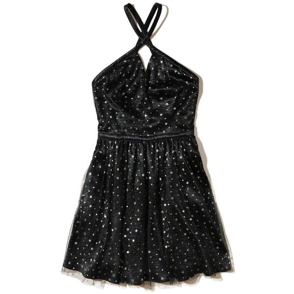 Hollister Star Satin Skater Dress ($70) ❤ liked on Polyvore featuring dresses, black stars with shine, open back dresses, satin dress, high neck dress, metallic skater dress and metallic dress