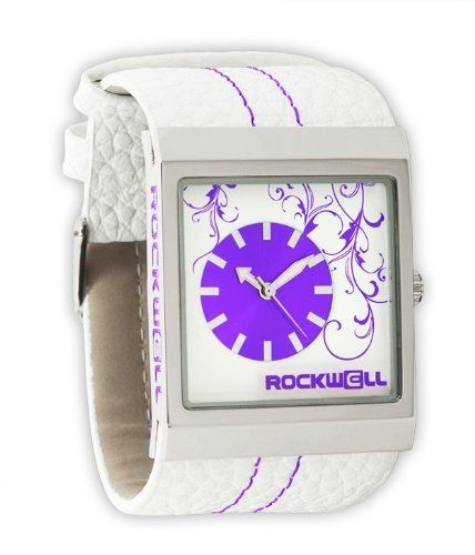 Rockwell Time Unisex MC120 Mercedes White Leather and Purple Watch Rockwell. $95.00. Water-resistant to 99 feet (30 M). Ultra strong mineral glass dial window helps prevent scratches. Japanese movement. Hardened alloy case with genuine leather band. Case diameter: 33 mm (not including crown)