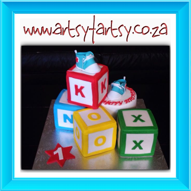 Alphabet Blocks and Baby Booties Cake #babybootiescake #alphabetblockscake