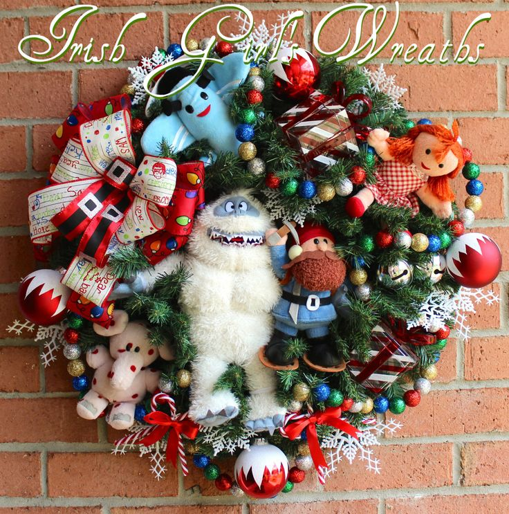 Rudolph Bumble SnowMonster Misfit Toys Wreath, Yukon Cornelius, spotted Elephant, Misfit Dolly, Misfit Airplane, Christmas Wreath by IrishGirlsWreaths on Etsy
