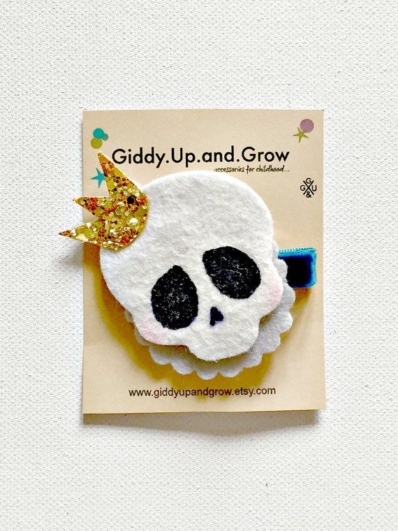 Halloween Hair Bow Skeleton Hair Clips Fall by giddyupandgrow