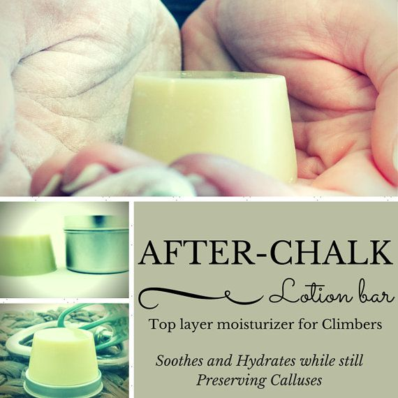 My Moisturizing bar designed specifically for climbers. Best used on hands right after a climb only once a day, use on elbows, feet, lips, knees as much as needed