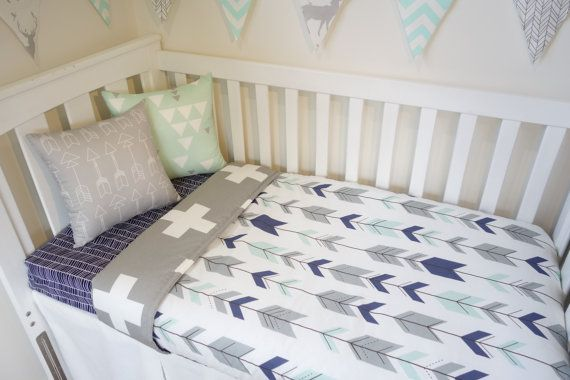 Navy grey and mint arrow nursery set by MamaAndCub on Etsy