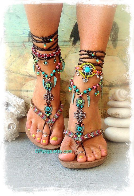 BOHO chic BAREFOOT Sandalen bunten Sommer Fußschmuck Türkis Tribal Feet Gypsy Sandal Engelsflügel Garten Hochzeit