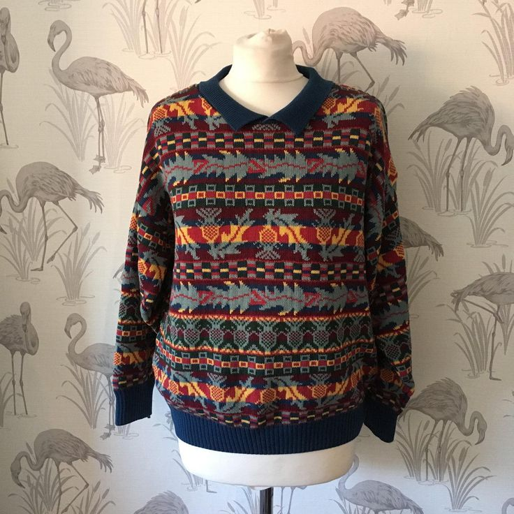 1980s Vintage Drawstring Turtle-Neck Fair Isle Jumper Z0WROL