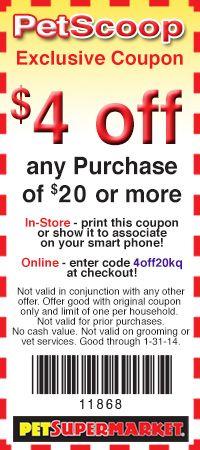 Pet Supermarket: $4 off $20 Printable Coupon