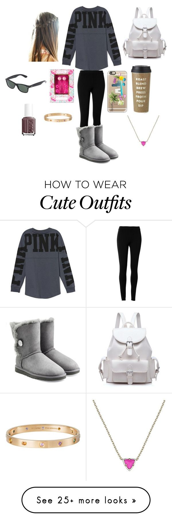 """""""Nice casual day in college outfit"""" by ainsley15-1 on Polyvore featuring Victoria's Secret, Max Studio, UGG Australia, Casetify, Lilly Pulitzer, Kate Spade, Ray-Ban, Kendra Scott, Cartier and Essie"""