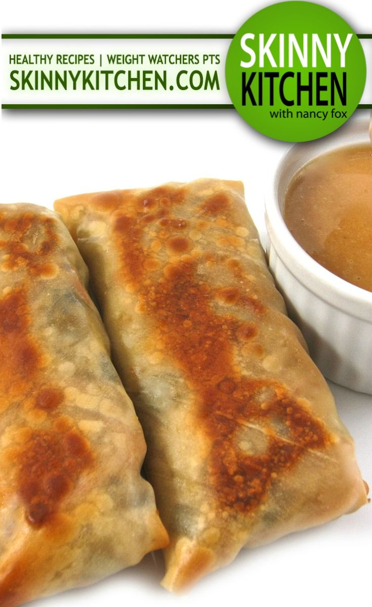 """Skinny Baked Vegetarian Egg Rolls with Peanut Sauce. """"Meatless Monday"""" never tasted so yummy with these fantastic egg rolls! Each has 117 calories 3g fat and 3 Weight Watchers POINTS PLUS. http://www.skinnykitchen.com/recipes/skinny-baked-vegetarian-egg-rolls-with-peanut-sauce/"""