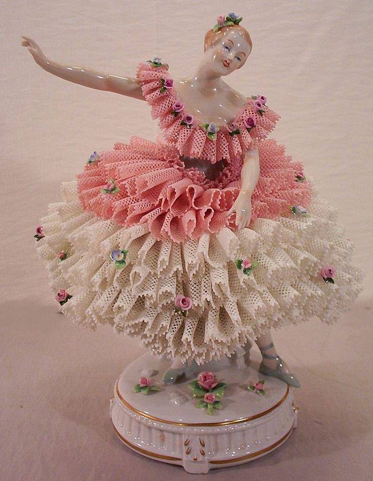 Vintage Porcelain Ballerina Dolls | Vintage Dresden Porcelain and Lace Ballerina Figurine from yas1 on ...: