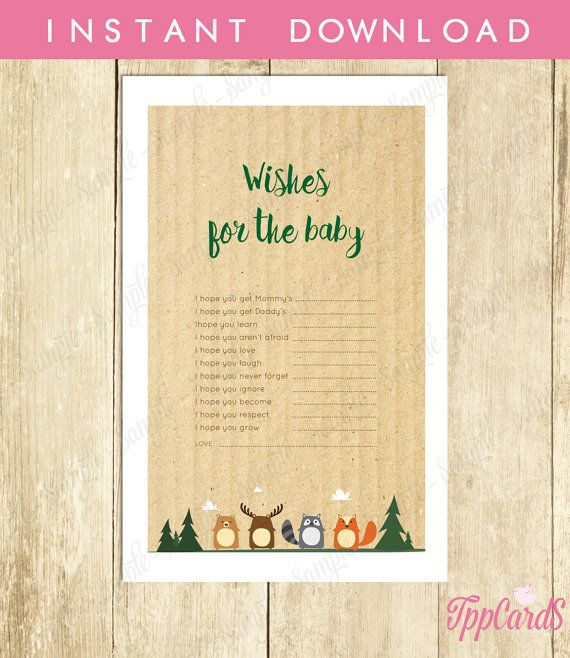 Wishes for Baby Baby Shower Activity Woodland Baby Shower Well Wishes for Baby Cards and Sign - Printable Instant Download by TppCardS #tppcards