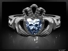 """DECEMBER Birthstone Silver Claddagh Ring LS-SL90-12-3D Inscribed with """"Love Loyalty Friendship"""". Made in Ireland."""
