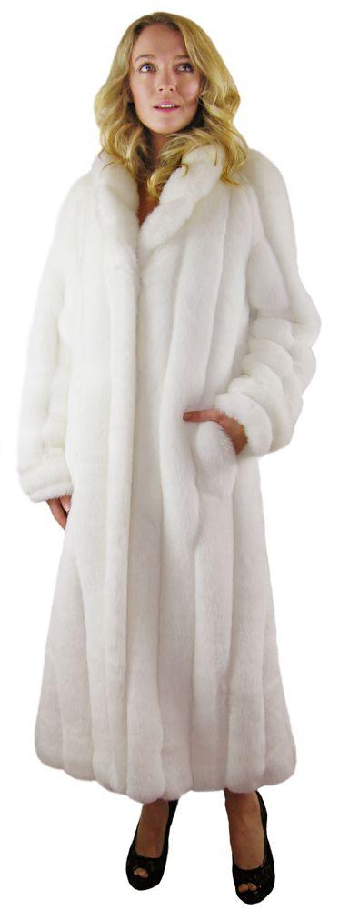 WHITE MINK <BR> 49 Inches Faux Fur Coat
