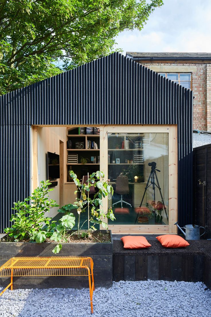 This Backyard Office Provides A Workplace For Architects Backyard Office Garden Cabins Backyard Studio Modern backyard shed ideas