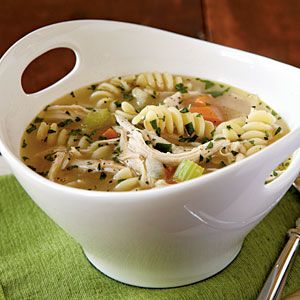 Quick Chicken Noodle Soup | MyRecipes.com - Heat the broth mixture in the microwave to jump-start the cooking. Meanwhile, sauté the aromatic ingredients in your soup pot to get this dish under way. Though we like the shape of fusilli, you can also make this soup with wide egg noodles, rotini, or even orzo.