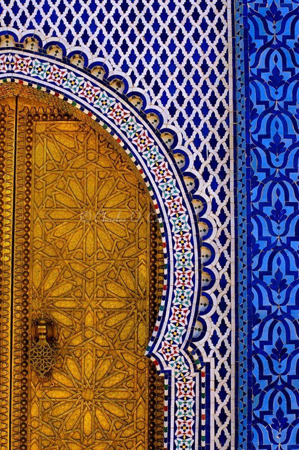 Brass door and tile work at the royal palace dar al for Fez tiles
