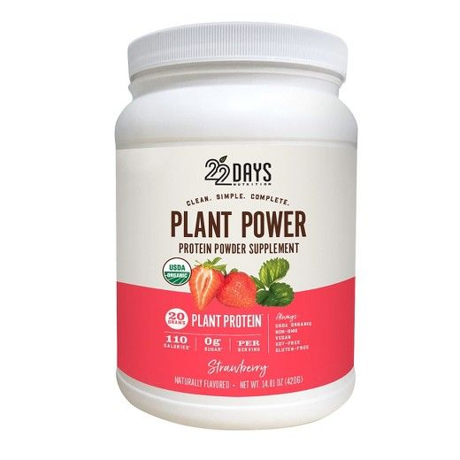 22 Days Nutrition's Plant-Based Strawberry Protein Powder is made with 20g of plant protein, using USDA Organic ingredients that are vegan, gluten-free, soy-free, non-GMO and 100% plant-based. 22 Days Nutrition's protein powders use a blend of organic peas, flax seed, and sacha inchi for a complete amino acid profile that nourishes the body and tastes great. Clean. Simple. Complete. 22 Days Nutrition Strawberry Protein Powder is made with simple ingredients and complete proteins, form...