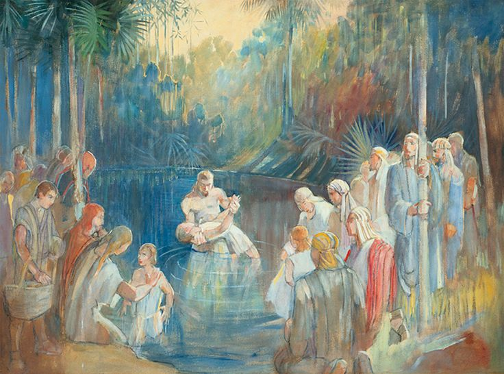 Alma Baptizes in the Waters of Mormon by Minerva Teichert