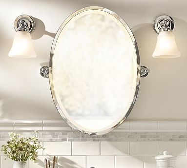 Photo Gallery On Website Kensington Pivot Mirror Oval Satin Nickel finish