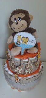 hand made with inspiration: Diaper cake jungle theme!!!