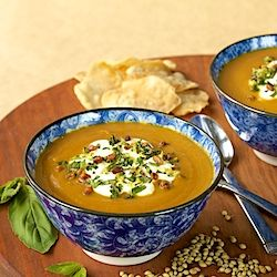 ... carrot amp coriander soup w pine nut amp fresh herb gremolata