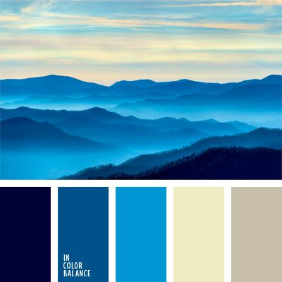Si necesitas decorar un cuarto de baño, esta paleta de tonos azules puede ser útil. Consiste en los colores neutros gris y blanco y el color del agua.