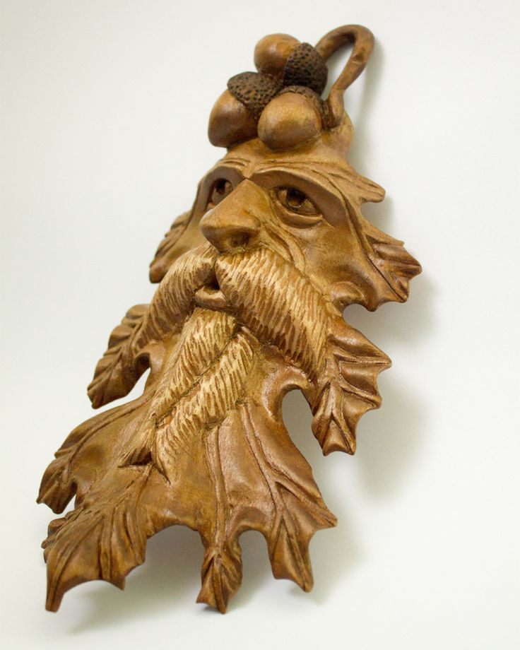 "Wooden carved wood spirit ""An oak leaf"" #woodcarving #woodproduct #woodspirit #etsy"