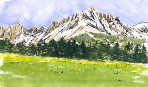 Etape par étape, comment peindre un paysage de montagnes à l'aquarelle