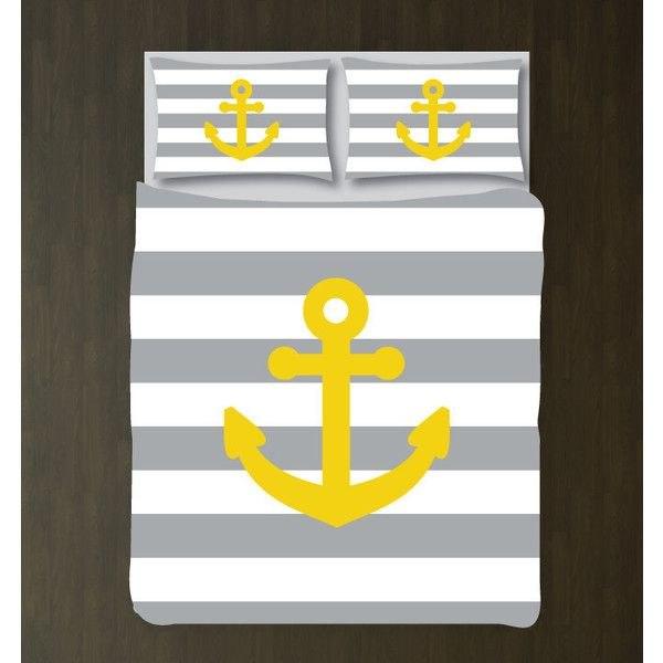 Custom Nautical Duvet Bedding Set-Grey-White Stripes-Yellow... (€115) ❤ liked on Polyvore featuring home, bed & bath, bedding, duvet covers, home & living, silver, twin bed set, queen bed set, twin xl bedding sets and twin xl bed set