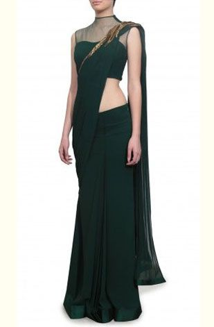 latest-saree-trends-2016-designs-designer-shoulder-embellishment-bottle-green