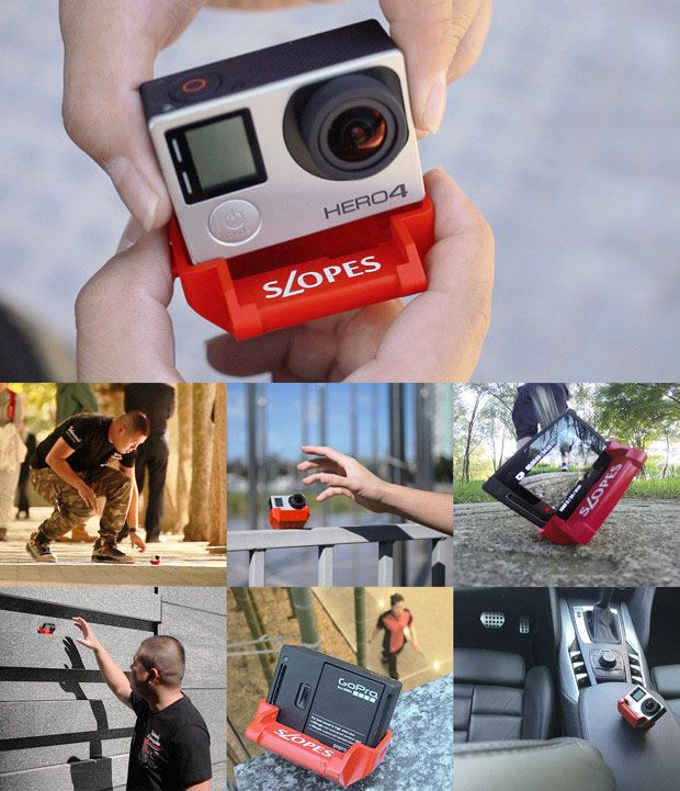 SLOPES is an innovative new stand for GoPro HERO cameras that uses a polyhedron shape to give you 20 different positions. Mount your camera to it, and you