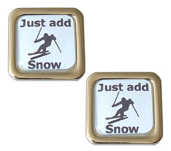 Skiing Cufflinks - Just Add Snow - Hit the slopes, have fun.