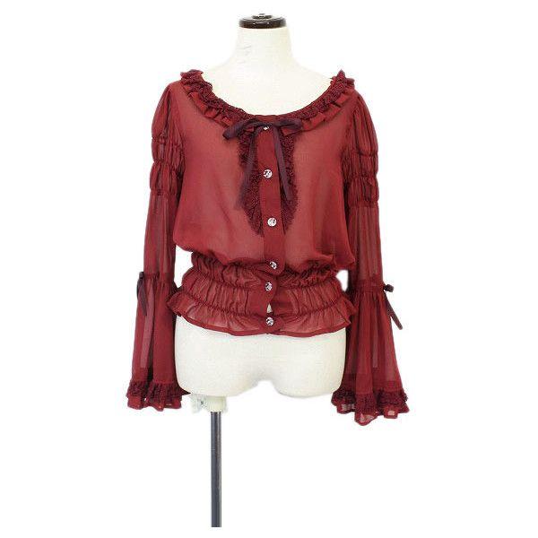 ALICE and the PIRATES / プリンセス・マチルダシフォンブラウス (アリス アンド ザ パイレーツ) ❤ liked on Polyvore featuring tops, blouses, shirts, blusas, lolita, shiny shirt, red pirate shirt, red blouse, star print shirt and shiny blouse